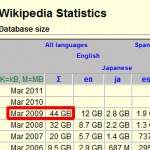 wikipedia database size